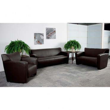 Brown Leather Reception Set