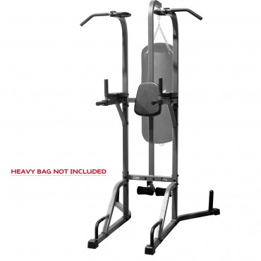 XMark Fitness Deluxe Power Tower and Heavy Bag Stand Featuring A Heavy Bag Workout Station, Vertical Knee Raise, Dip Station, Push-Up Station, Split Grip Pull-Up Bar XM-2842