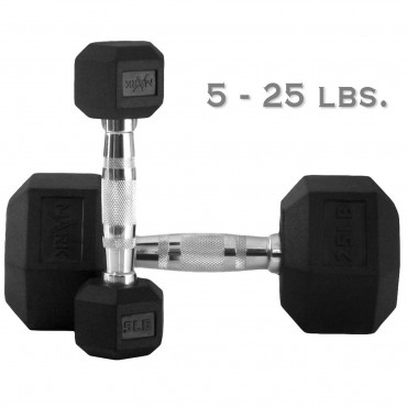 XMark Fitness 150 lb. Premium Quality Rubber Coated Hex Dumbbell Set is Built Tough, Built to Last XM-3301-150S