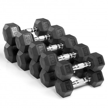 XMark Fitness 200 lb. Premium Quality Rubber Coated Hex Dumbbell Set is Built Tough, Built to Last XM-3301-200S