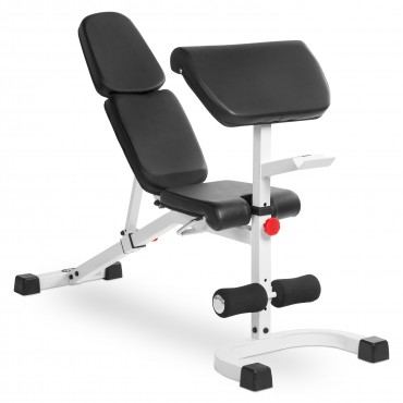 XMark Fitness FID Flat Incline Decline Weight Bench Features 8 Back Pad Adjustments from Decline to Full Military Press Position and three Preacher Curl Pad Adjustments XM-4417-WHITE