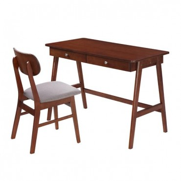 Techni Mobili Modern Desk with storage and Chair Set. Colors: Mahogany, Gray