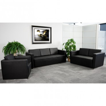 HERCULES Trinity Series Contemporary Black Leather Loveseat with Stainless Steel Base [ZB-TRINITY-8094-LS-BK-GG]